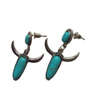 3/$30 Southwestern 'turquoise' bull horn earrings